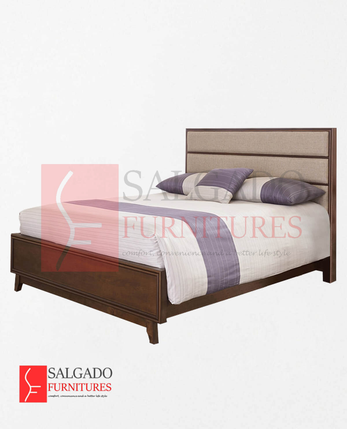 Mid Mod Upholstered Panel Bed