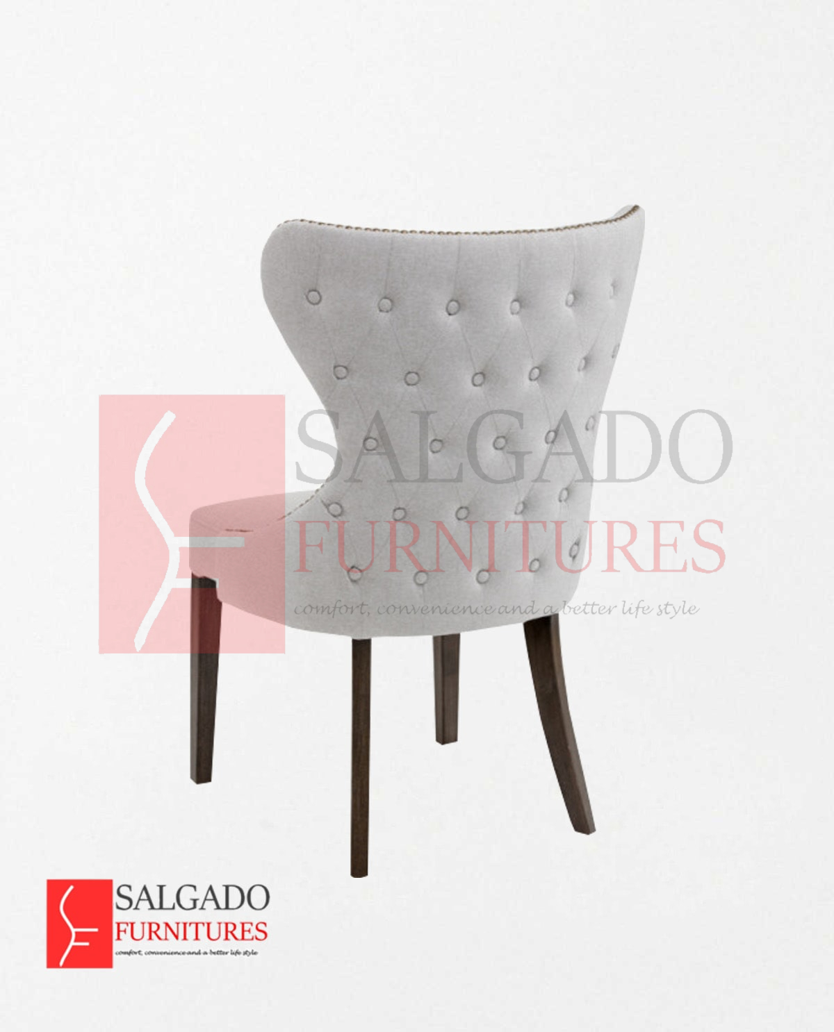 Rexion Button Tufted Back Dining Chair Brass Nail Salgado