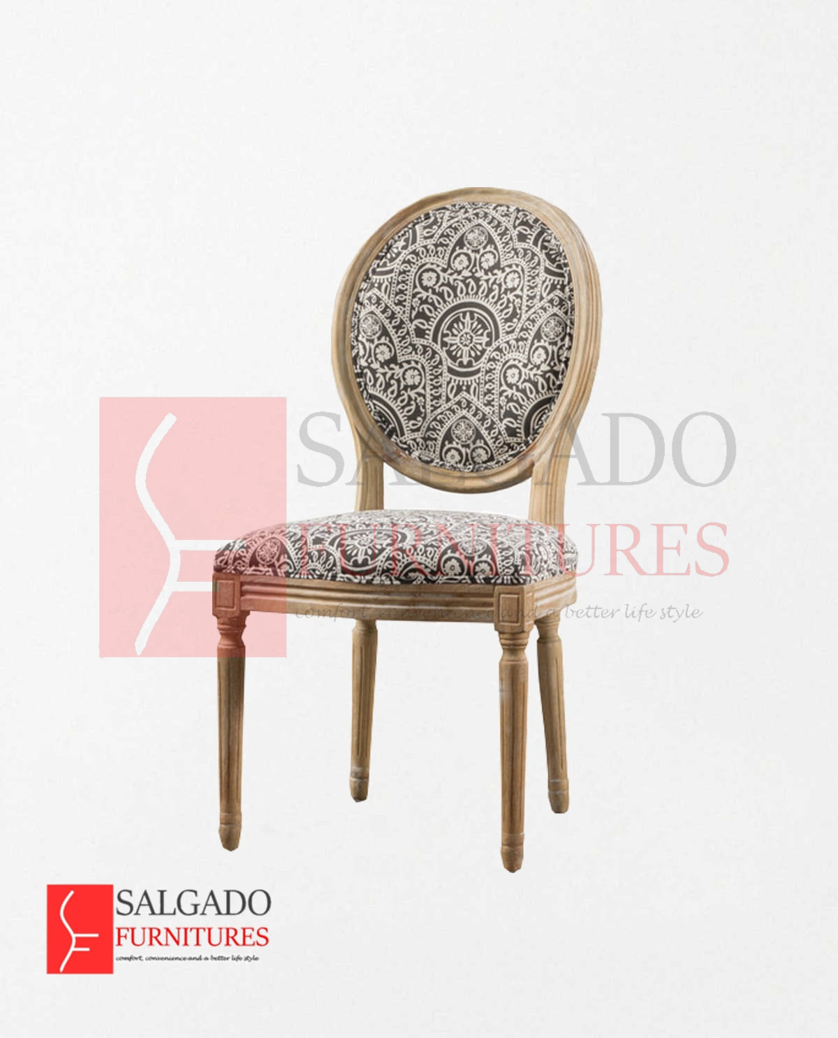 Enjoyable Owal Round Black And White Patterned Fabric Salgado Dailytribune Chair Design For Home Dailytribuneorg