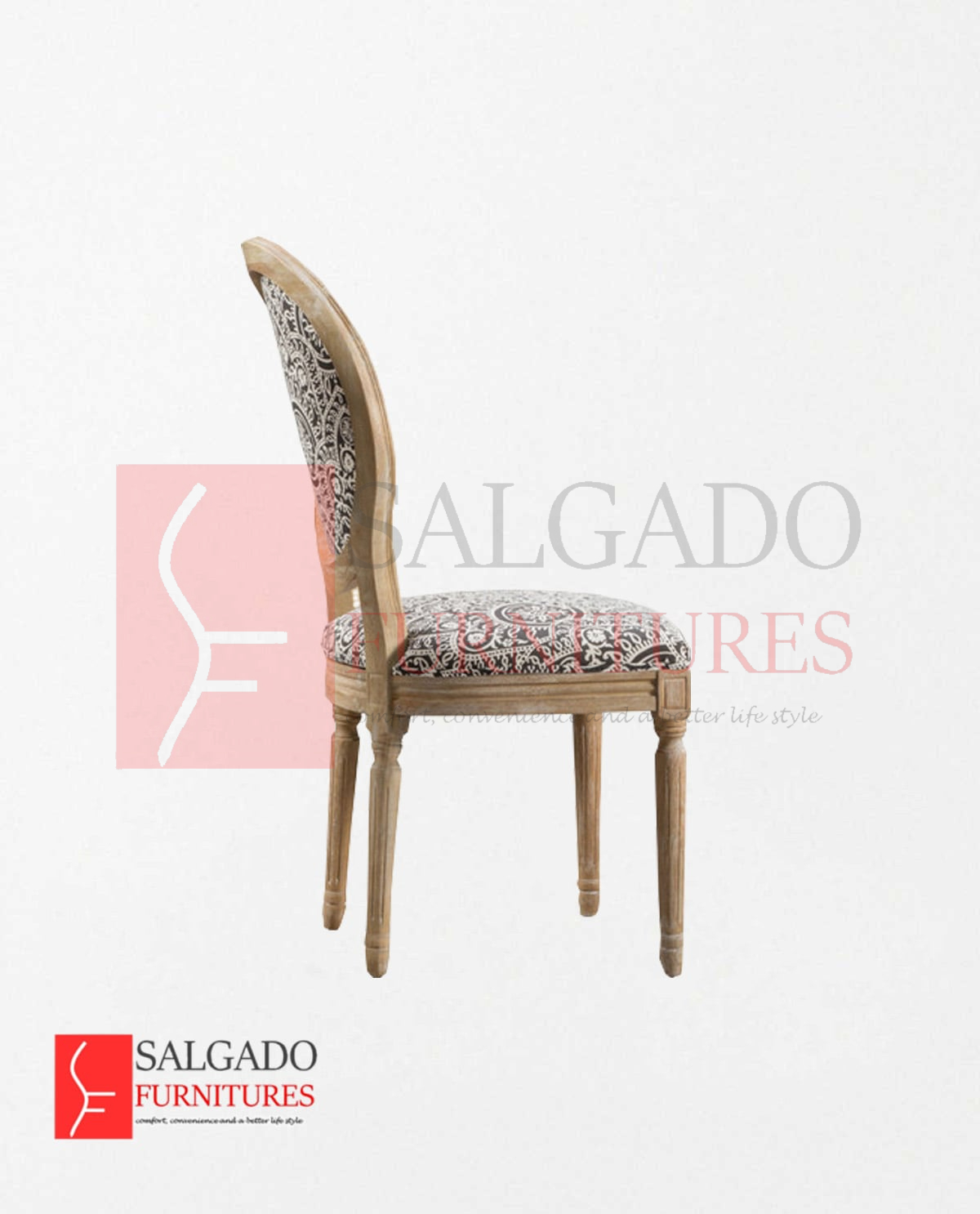 Excellent Owal Round Black And White Patterned Fabric Salgado Dailytribune Chair Design For Home Dailytribuneorg